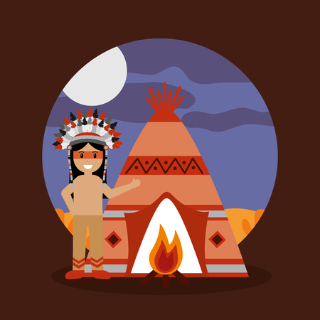 native american indian teepee bonfire and night landscape vector illustration
