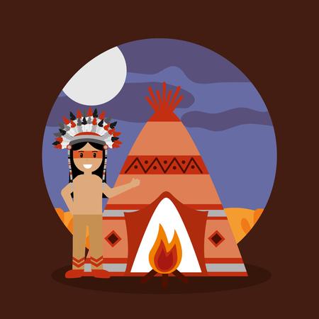 Nativo americano indiano teepee fogueira e noite paisagem ilustração vetorial Foto de archivo - 91366630
