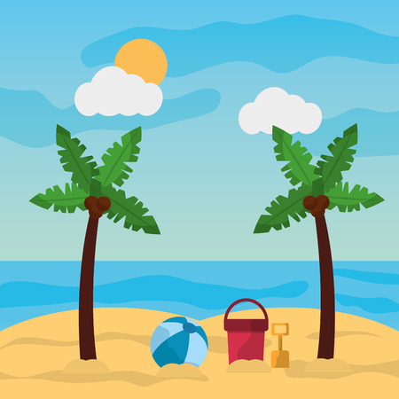 beach palm tree ball bucket and shovel sand sunny landscape vector illustration Illustration