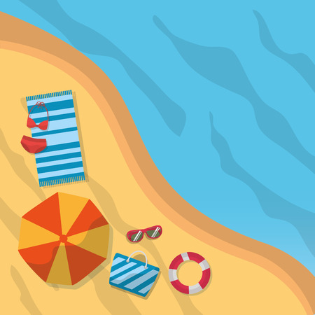 top view beach summer towel bikini umbrella sunglasses bag vector illustration Banco de Imagens - 91369034