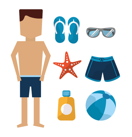 man standing with swimsuit sandals sunglasses starfish ball sunblock vector illustration