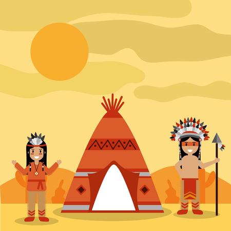 ティーピーと砂漠の風景ベクトルイラストを持つ2つのネイティブアメリカンの人々