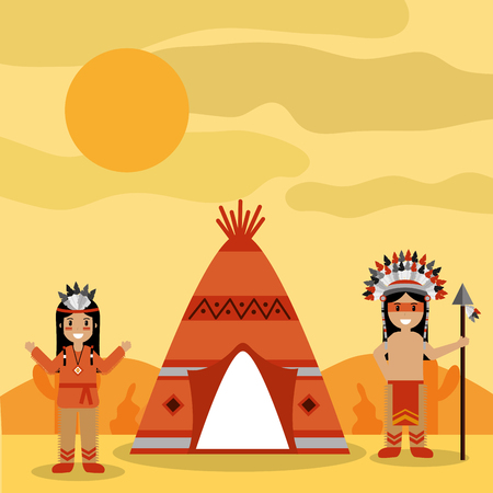 two native american people with teepee and desert landscape vector illustration Illustration