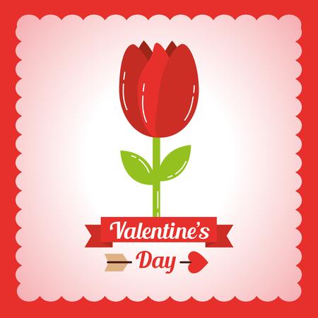 バレンタインデー チューリップ花飾りカード ベクトルイラスト