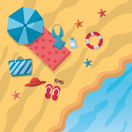 beach umbrella bikini sandals hat bag towel starfish beach sea top view vector illustration