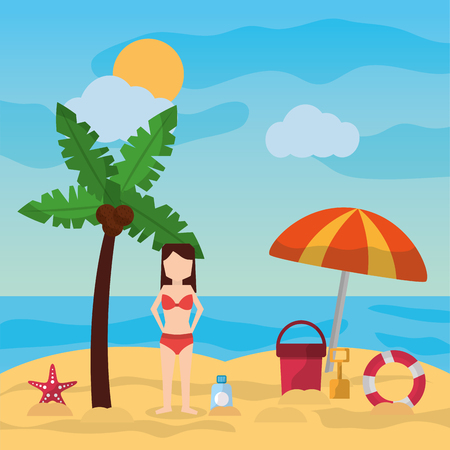 woman standing in beach palm umbrella bucket shovel sunblock sunny day vector illustration