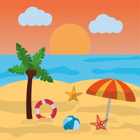 beach summer palm umbrella ball starfish sun cloud and sea vector illustration