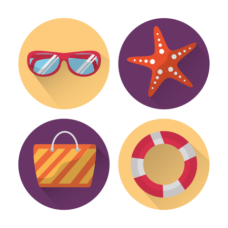 set icons best summer season vacation vector illustration