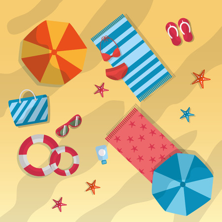 summer beach umbrella towels sunglasses starfish bag lifebuoy swimsuit vector illustration Stock Illustratie