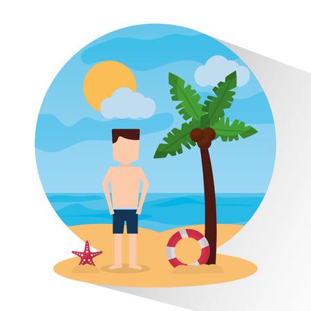 man standing beach with umbrella lifebuoy sea badge image vector illustration