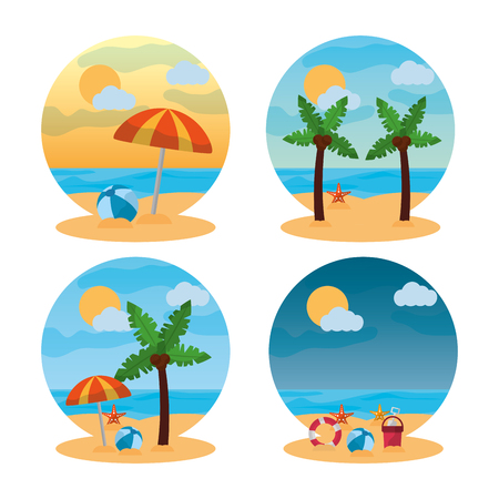 Ilustração em vetor verão paisagem cena diferente praia Foto de archivo - 91366641