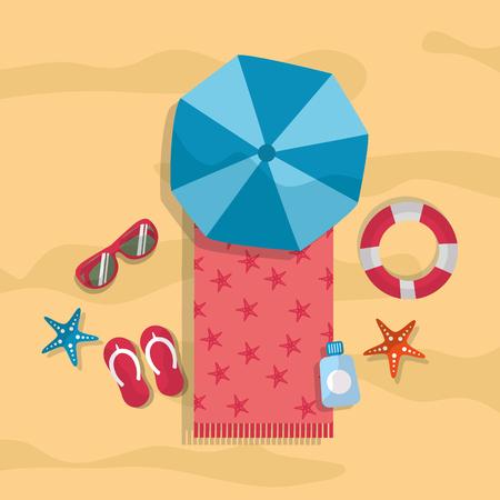 beach summer tourism umbrella towel sunglasses flip flops lifebuoy starfish vector illustration