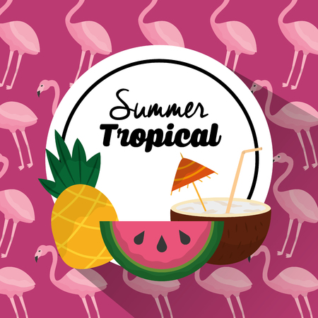 Summer tropical banner pineapple watermelon and cocktail flamingo background vector illustration