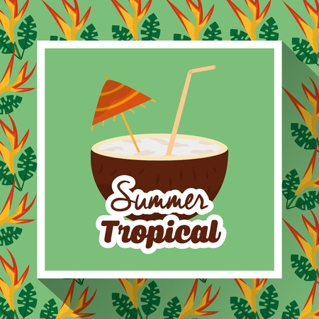 summer tropical coconut drink coctail flower exotic vector illustration