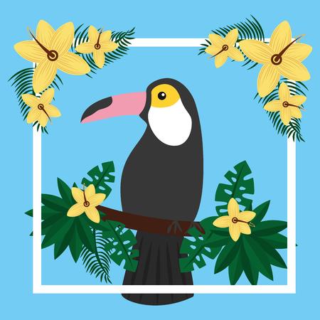 toucan sitting on tree branch flower tropical bird vector illustration