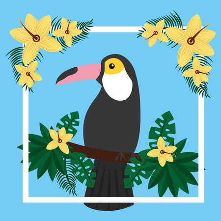 toucan sitting on tree branch flower tropical bird vector illustration