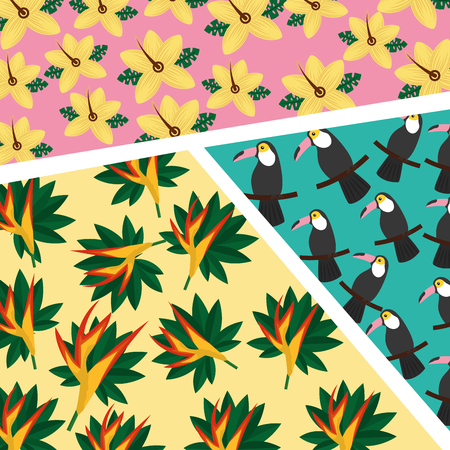 tropical toucan flower hibiscus and bird of paradise seamless pattern vector illustration