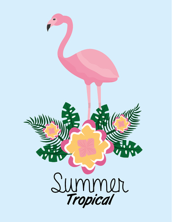 summer tropical flamengo cute flower leaves exotic foliage vector illustration