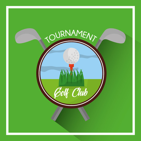 golf club tournament ball and clubs cross vector illustration