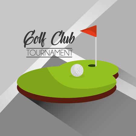 golf club toernooi bal en vlag gat vector illustratie