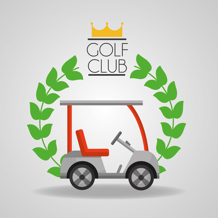 golf club car sport vehicle badge vector illustration Vettoriali