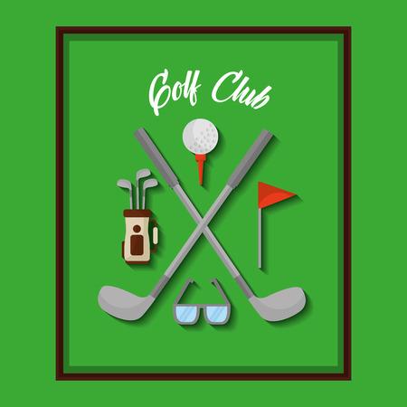golfclub apparatuur bal vlag clubs tas vectorillustratie