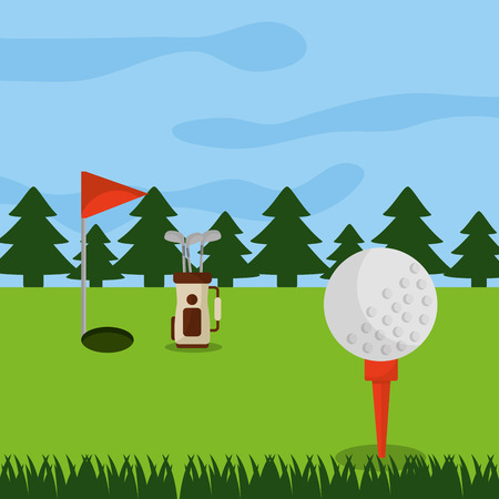 Golf course hole flag, ball and pine tree forest illustration.