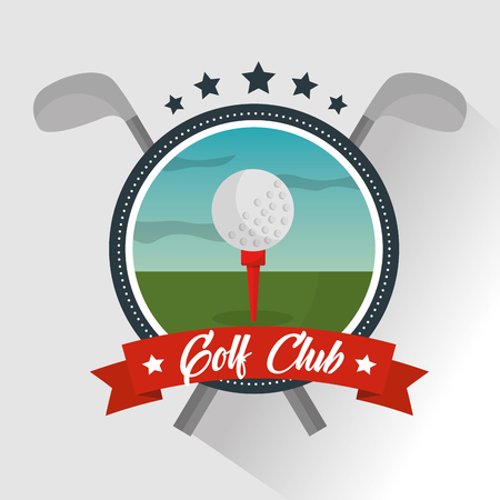 Golf club ball banner star emblem, vector illustration.
