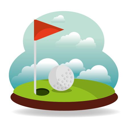 ゴルフホールフラグと風景ベクトルイラスト