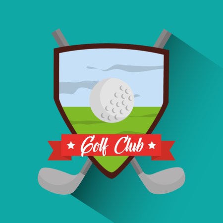 golf club banner cross clubs and ball vector illustration