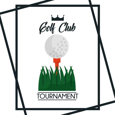 golf club toernooi groet poster bal gras vector illustratie