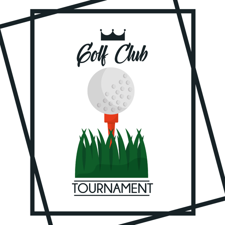 golf club tournament greeting poster ball grass vector illustration