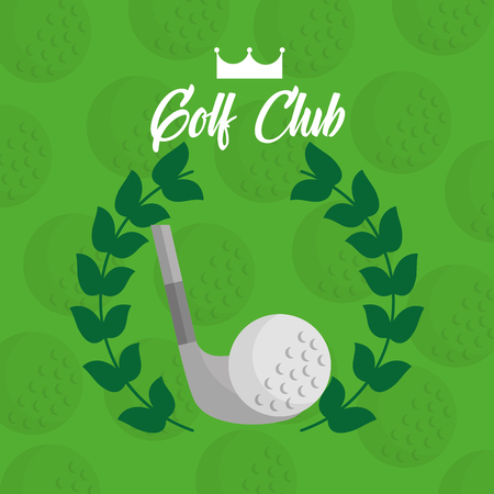 golf club ball with laurel leaves green background vector illustration