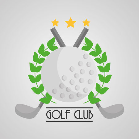 golf club bal en clubs kruis embleem sport vector illustratie