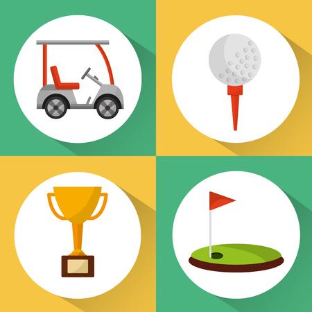 set van golf club apparatuur sport vector illustratie