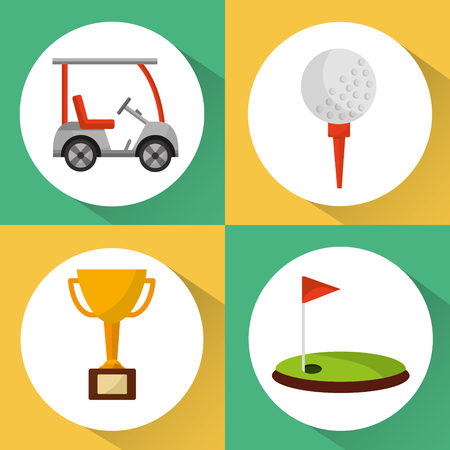 set of golf club equipment sport vector illustration Illustration