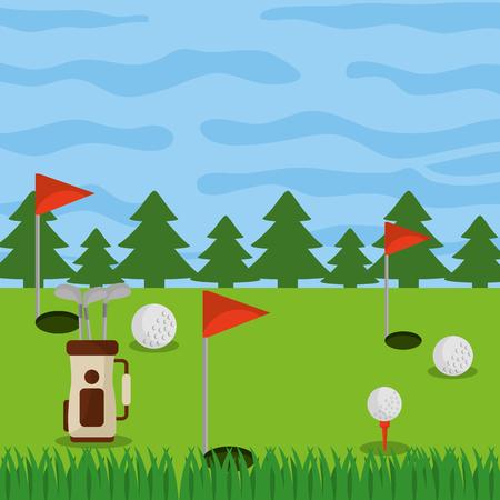 ゴルフコース フィールド穴フラグ ボールとバッグのクラブ ベクトル図