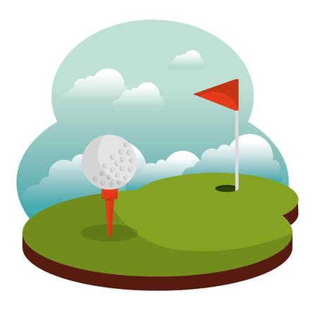 golf course hole flag and ball vector illustration