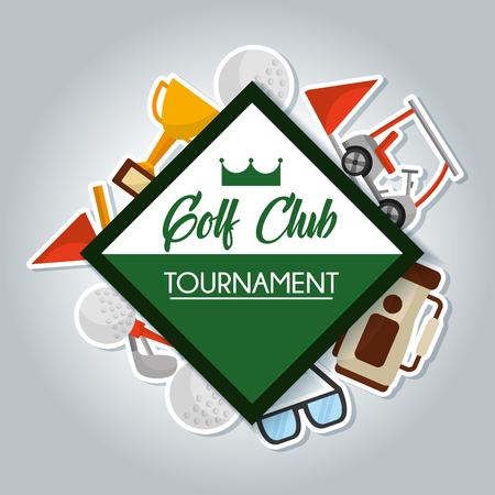 golf club toernooi kaart tas trofee bal clubs vlag vector illustratie Stock Illustratie