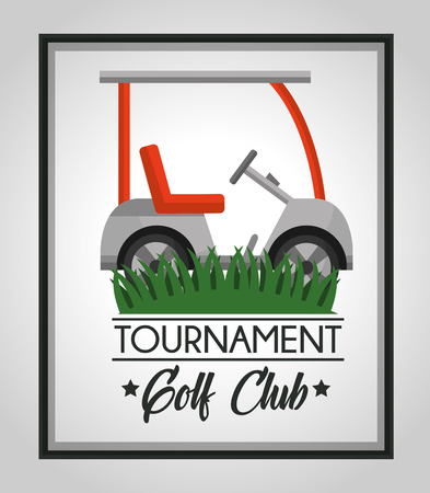 golf club tournament car sport on grass vector illustration 向量圖像
