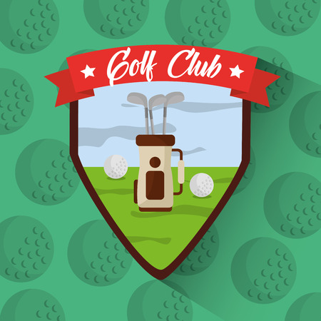 golf club bag with clubs balls filed badge vector illustration Illustration