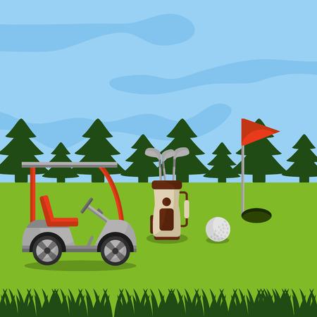 golf course car sport bag clubs ball hole flag pine trees vector illustration Иллюстрация