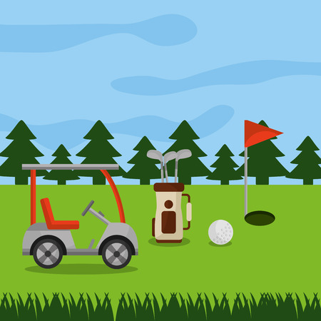 golf course car sport bag clubs ball hole flag pine trees vector illustration Illustration