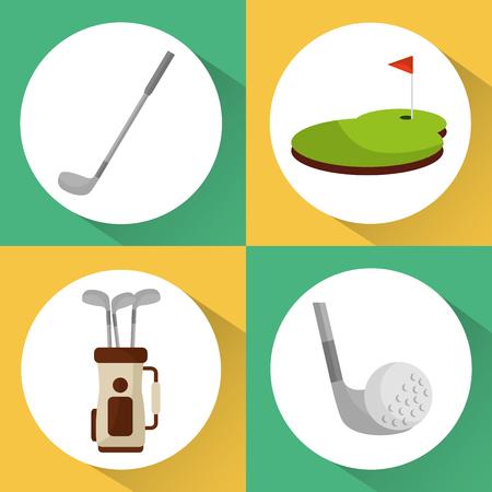 set of golf club equipment sport vector illustration Çizim