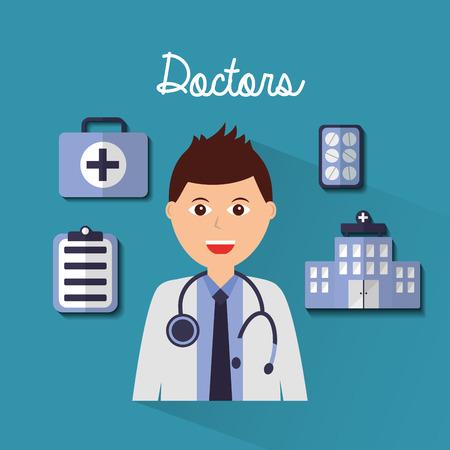 의사 남자 초상화 병원 의학 클립 보드 키트 벡터 일러스트 레이션