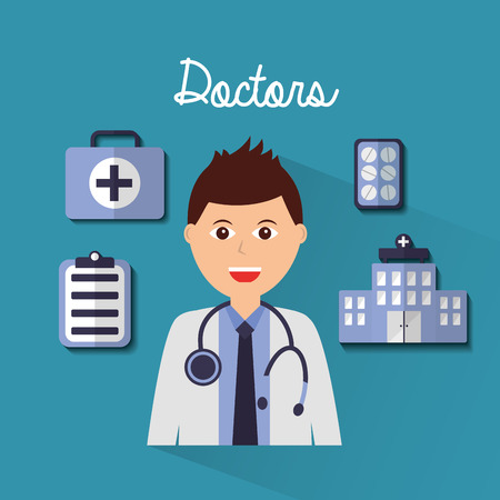 doctors man portrait hospital medicine clipboard kit vector illustration