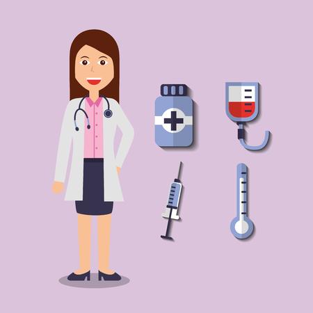 doctor female bottle medicine syringe thermometer and blood bag vector illustration Illustration