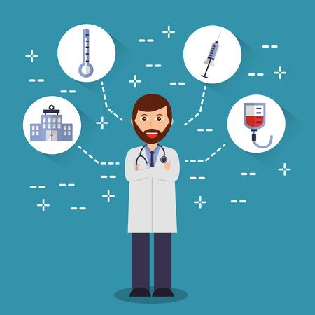 arts armen gevouwen met stethoscoop medische pictogrammen vector illustratie Stock Illustratie