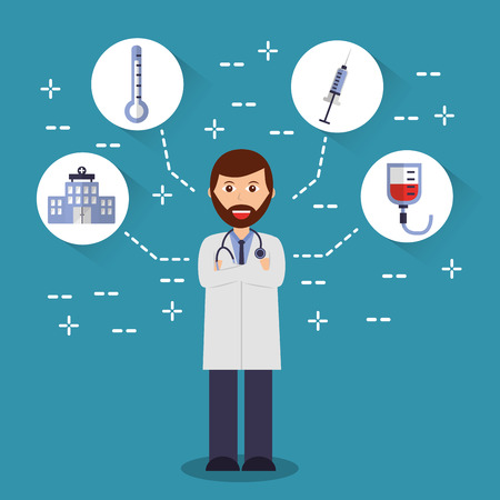 doctor arms folded with stethoscope medical icons vector illustration