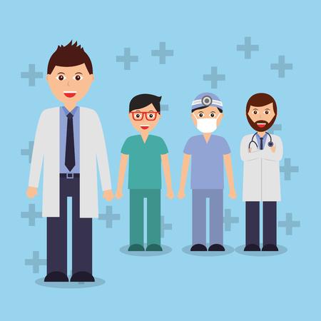 doctors staff hospital professional people vector illustration